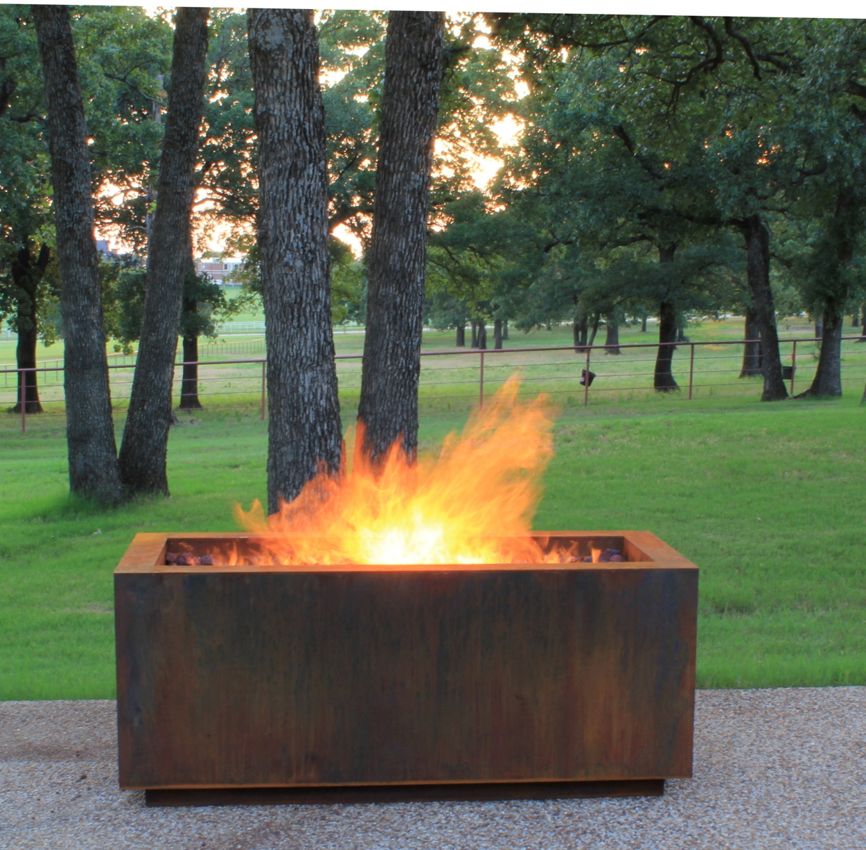 Linear Cor-Ten Steel Hidden Tank Fire Pit