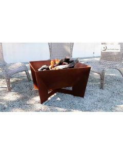 DeZen Cor-Ten Steel Wood Burning Fire Pit with a Gas Ring