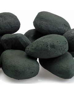 Large Matte Black fire stones for a fire pit.