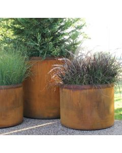 3 different diameter of Cor-Ten Steel planters with plants in them.