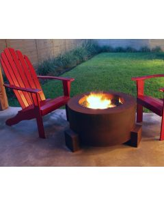 Steel fire pit with 14 inch deep bowl.  Fire bowl has natural wood in it.