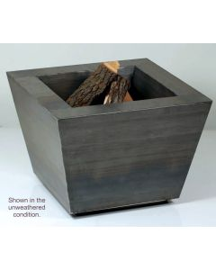 Cor-Ten steel rectangular wood burning fire in operation.