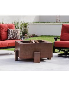 38 inch square Cor-Ten steel wood burning fire pit with a gas ring.