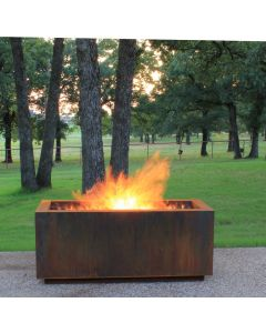Cor-Ten steel rectangular wood burning fire pit with a stainless steel H burner and wood grate.  Fuel source options are natural gas and remote propane.