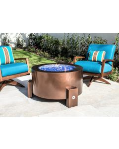 37 Inch Round Powder Coated Fire Pit - Natural Gas or Remote Propane