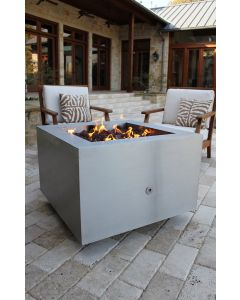 35 inch square brushed stainless steel fire pit.
