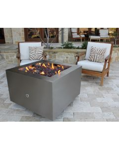 35 inch square brushed stainless steel hidden tank fire pit.  20 lbs propane tank fit under fire pit.