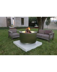 38 inch round wood burning stainless steel fire pit.  Brushed finish.  Available fuel sources are natural gas and remote propane.