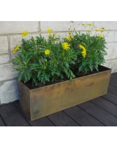 20 inch long x 10 inch deep x 10 inch tall Rectangular Cor-Ten Planter