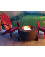 30 inch round Cor-Ten steel fire pit with dark fire glass in the fire bowl and flames coming out of the fire glass.
