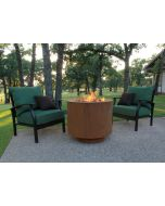 30 inch round Cor-Ten steel hidden tank fire pit in operation.