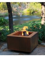 Cor-Ten steel 30 inch square fire pit in the weathered condition.