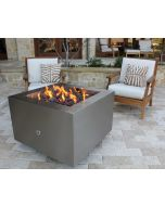 Stainless Steel 35 inch square wood burning fire pit.