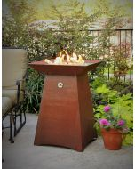 34 inch tall gas fueled garden torch.  Cor-Ten steel construction.  Fire bowl holds fire glass, fire beads or lava rock.  Available in natural gas, remote propane or hidden tank configurations.