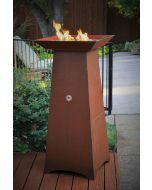 50 inch tall gas fueled garden torch.  Cor-Ten steel construction.  Fire bowl holds fire glass, fire beads or lava rock.  Available in natural gas, remote propane or hidden tank configurations.