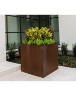 35 inch square large Cor-ten steel planter box with a variety of yellow green and red plants in the outdoor planter.